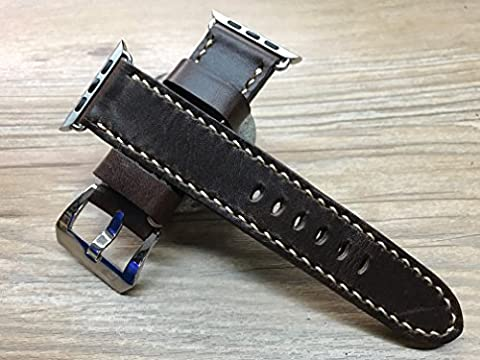 Apple Watch 38mm & 42mm | Apple Watch Strap Series 1, Series 2 | Apple Watch band | Handmade Leather Watch Band | Vintage Brown color, iwatch, (Rolex Color)