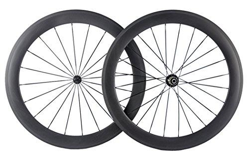 Queen Bike Carbon Wheelset Tubular 60mm 700c Wheelset Matte Finish with Powerway R13 Hub