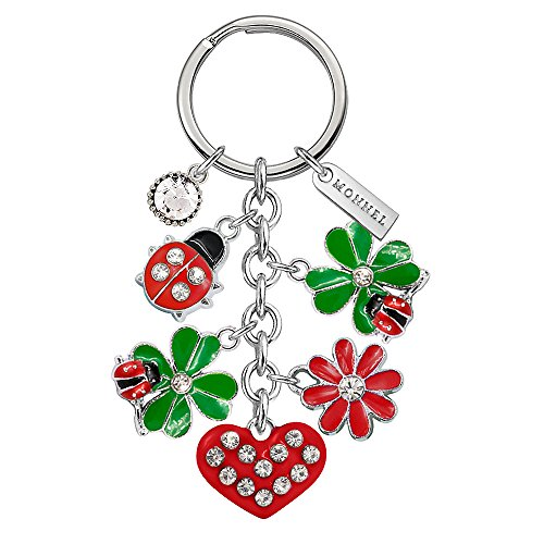 Ring Ladybug Key Keychain - Monnel Brand New Green Four Leaf Clover Flower Red Ladybug Love Heart Keychain with Velvet Bag Z531