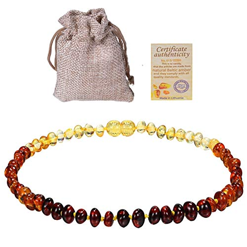 Power Necklaces - Baltic Ambers Teething Necklace For Babies (Unisex) (Cognac) - Anti Flammatory, Natural Certificated Oval Baltic Jewelry 14-33cm - by LuckyNecklaces - 1 PCs