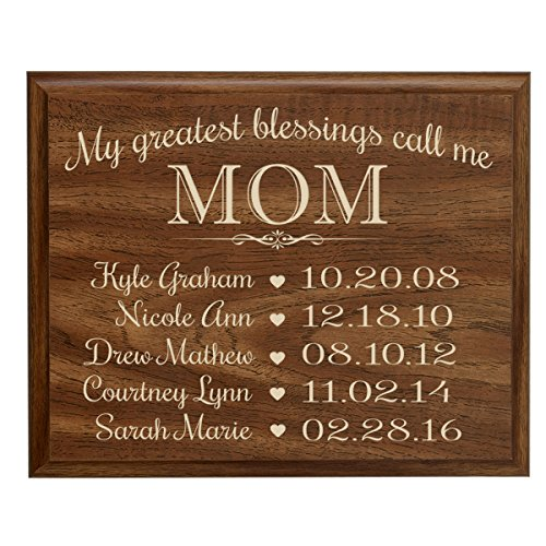 Personalized Gifts for Mom with Family Established Year wall plaque with children's names and birth dates to remember My Greatest blessings call me Mom by LifeSong Milestones (9×12, Walnut)