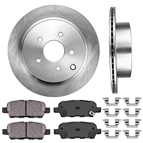 REAR 308 mm Premium OE 5 Lug [2] Brake Disc Rotors + [4] Ceramic Brake Pads + Clips ()