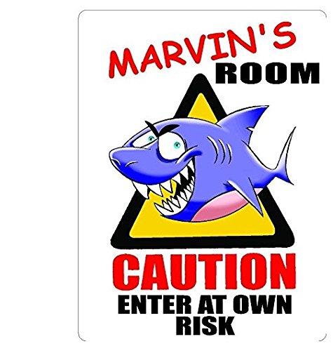 MARVIN's Room Shark Sticker Caution Entering Kids Room Sticker Decal Decor Graphic Decorative Nursery Sticker