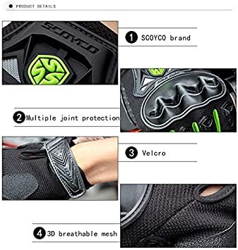 RED,XL SCOYCO Mens Gloves Black,with Microfiber Hard Knuckle,Waterproof,Breathable Powersports,Motorbike,Scooter,Motorcycle Glove.