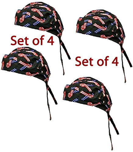 Doo Rag Set of 4 American Flag Food Service Skull Cap Head Wrap Chef Cook by Buy Caps and Hats