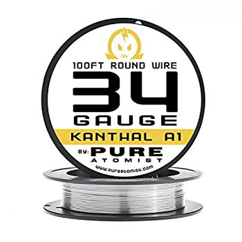 100ft - PURE ATOMIST 34 Gauge kanthal A1 Wire 100' Roll - 34 AWG / 0.16mm
