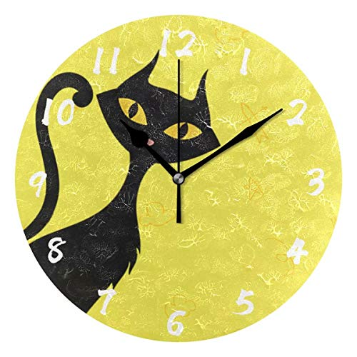 WHBAG Cat Wall Clocks Battery Operated Decorative Small Art Decor Round Wall-Clock Non Ticking Fun Round Unique Modern Numeral Design Yellow for Living Room Bedroom Home ()