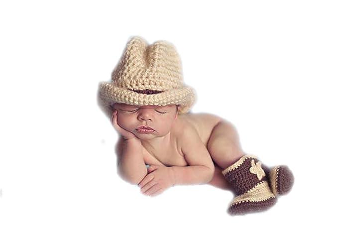 DELEY Baby Kleinkinder Cowboy-Hut Stiefel Mütze Mit häkeln stricken ...
