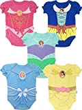 Disney Princess Baby Girls' 5 Pack Bodysuits Belle Cinderella Snow White Aurora, 24 Months