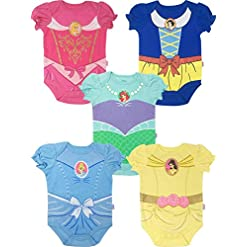 Disney Princess Baby Girls' 5 Pack Bodysuits Belle Cinderella Snow White Aurora 15