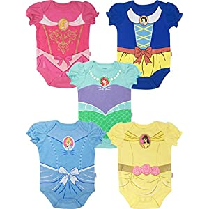 Disney Princess Ariel Belle Cinderella Snow White Aurora 5 Pack Short Sleeve Bodysuit