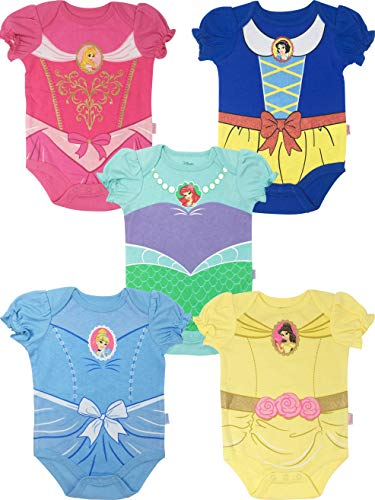 Disney Princess Baby Girls' 5 Pack Bodysuits Belle Cinderella Snow White Aurora, 6-9 Months
