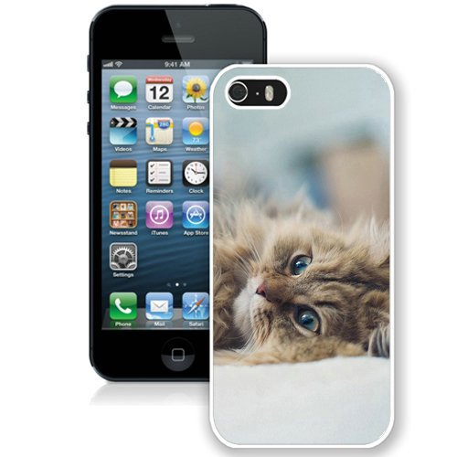 Coque,Fashion Coque iphone 5S Fluffy Blue Eyed Kitten blanc Screen Cover Case Cover Fashion and Hot Sale Design