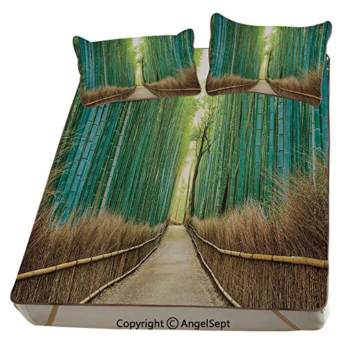 Bamboo Forest in Japan,Summer Cooling Mat 3D Printing Foldable Folding Summer Ice Silk Cover Cool Mat with Pillowcase(Queen) Panoramic View of Historic Landscape Park Decorative