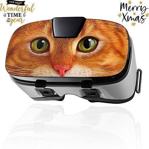VR Headset for iPhone & Android Phones | 3D Virtual Glasses | Virtual Reality Goggles Perfect Work with Max Size Smartphones | Eye-Safe Adjustable HD Quality Lenses (Ginger Cat) ()