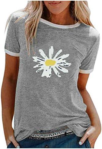 Koszulka damska, z krÓtkim rękawem, luźna bluzka z nadrukiem, okrągły dekolt, w paski, styl casual, letnia, luźna koszulka, tunika, motyw dmuchawca, T-shirt z nadrukiem...: Odzież