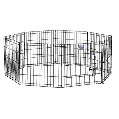 MidWest Foldable Metal Exercise Pen / Pet Playpen. Black w/ door, 24