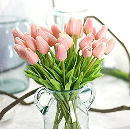 bin lang Artificial Flowers 20 Heads Real Touch Tulips PU Tulips Fake Flowers Arrangement Wedding Bouquets Home Room Office Centerpiece Party Wedding Decor(Pink)(vase not Included.) CN