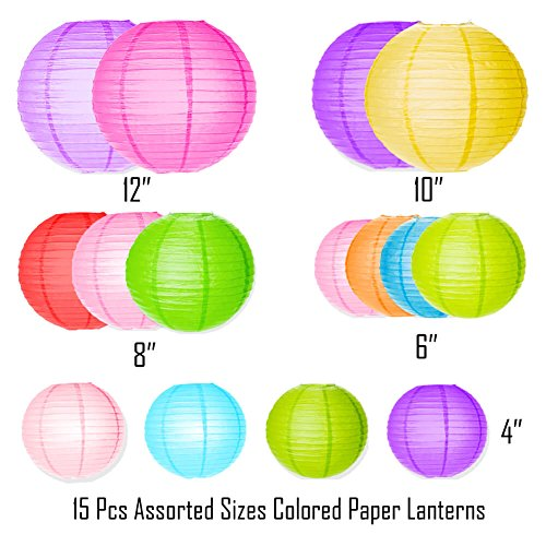 Selizo 15 Packs Paper Lanterns with Assorted Colors and Sizes for Party Decoration by Selizo (Image #1)
