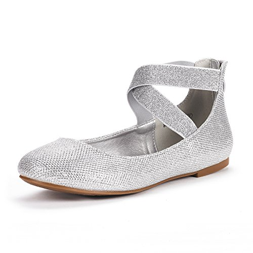 DREAM PAIRS Women's Sole_Stretchy Silver/Glitter Fashion Elastic Ankle Straps Flats Shoes Size 6.5 M US