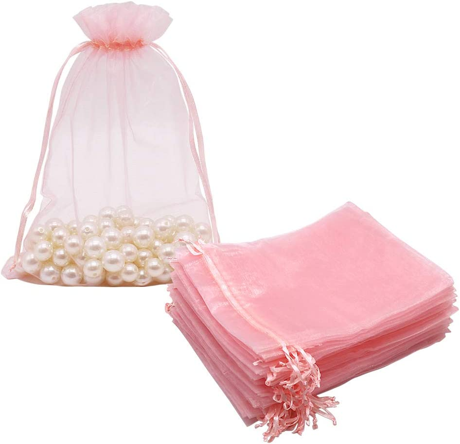 HRX Package 100pcs Blush Pink Organza Bags Large, 6.6 x 9 inch Drawstring Gift Pouches Mesh Party Favor Bags for Christmas Wedding Baby Shower