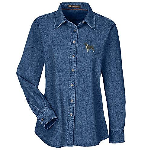 Springer Spaniel Black Embroidered Ladies 100% Cotton Denim Shirt