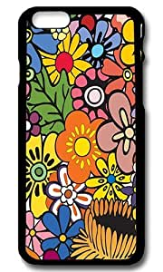 Rugged iPhone 6 Case,Hippie Flowers Custom Case Cover for Apple iPhone 6 4.7inch Polycarbonate Black