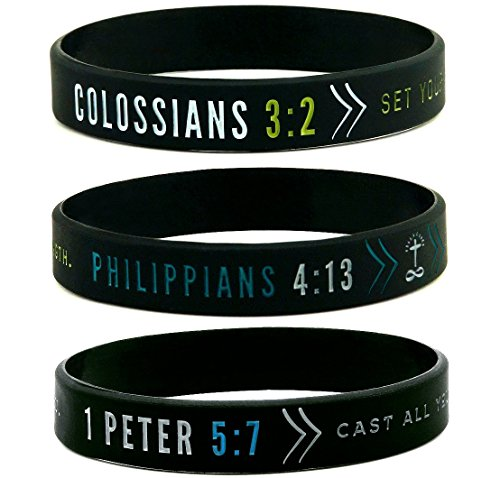 Inkstone (6-pack) Faith Wristbands w/Bible Verses - Philippians 4:13, Colossians 3:2, 1 Peter 5:7 - Adult Unisex Size for Teens Men -