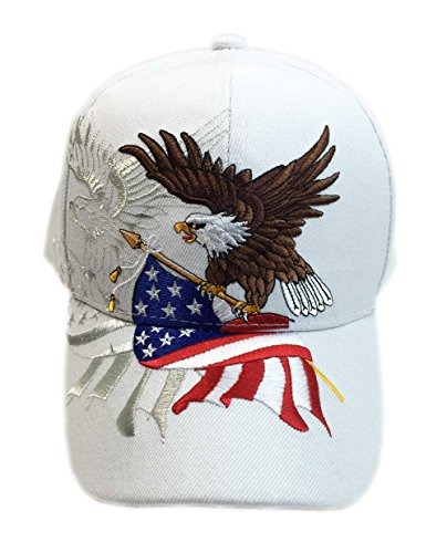 - Aesthetinc Patriotic American Eagle and American Flag Baseball Cap USA 3D Embroidery (White)