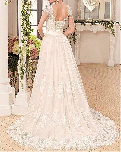 Dress Wedding Dressylady Ivory Gowns Cap Women's Sleeve Lace Detachable Bridal IqXCXw1r