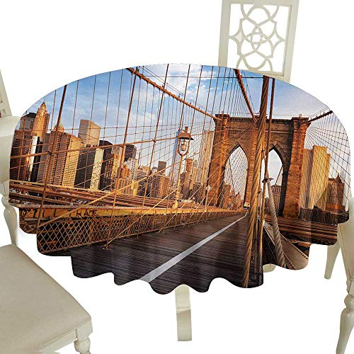 Checkered Round Tablecloth 65 Inch United States,Early Morning on Famous Brooklyn Bridge NYC Architecture,Pale Brown Grey Pale Blue Suitable for Home Coffee Bar,Party,Wedding,& More