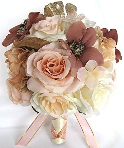 Amazon Com Wedding Bouquets Bridal Silk Flowers Rose Gold Dusty Mauve Peach 17 Piece Package Wedding Bouquet Centerpiece Flower Arrangements Rosesanddreams Home Kitchen