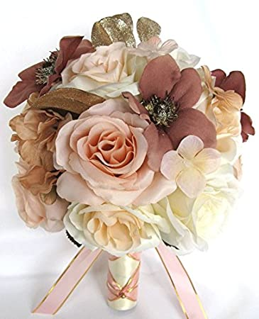 Amazon Wedding Bouquets Bridal Silk Flowers Rose Gold Dusty