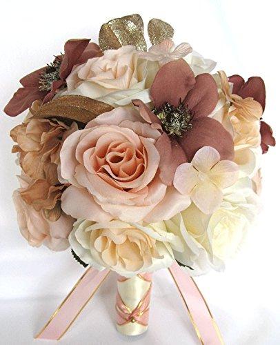 Amazon wedding bouquets bridal silk flowers rose gold dusty wedding bouquets bridal silk flowers rose gold dusty mauve peach 17 piece package wedding bouquet centerpiece mightylinksfo