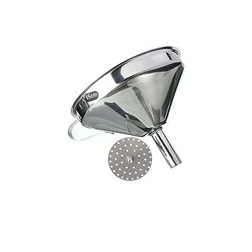 Embudo y filtro decantador de aceite o mermeladas de acero inoxidable - Utensilio de cocina – Plata, 15 cm