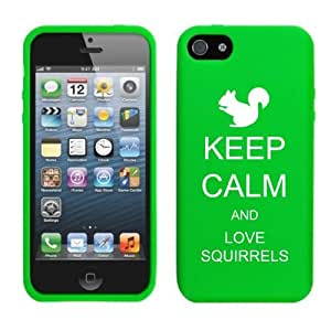Apple iPhone 5 5s Silicone Soft Rubber Skin Case Cover Keep Calm and Love Squirrels (Green)