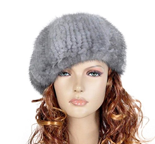 Fur Story 14618 Women's Knitted Real Mink Fur Beret Hat Sapphire