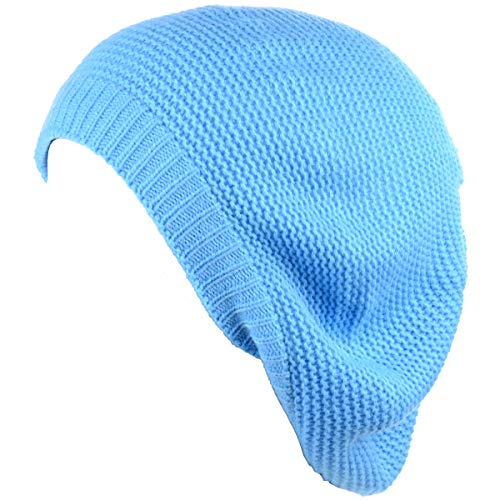 BYOS Chic French Style Lightweight Soft Slouchy Knit Beret Beanie Hat in Solid Sky Blue ()