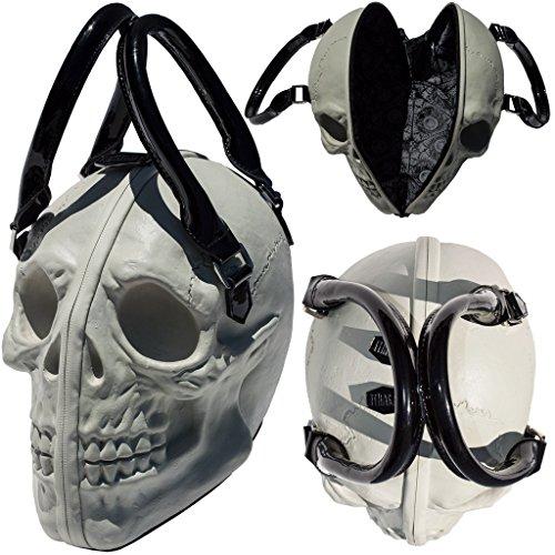 White Skull Purse Goth Chic Style Kreepsville Latex Bowler Bag Halloween Handbag (Goth Halloween Makeup)