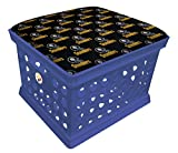 Blue Utility Crate Storage Container Ottoman Bench Stool for Office/Home/School/Preschools with Your Choice of a Football Team Seat Cushion, Decal and a Free Flashlight! (Black Steelers on Black)