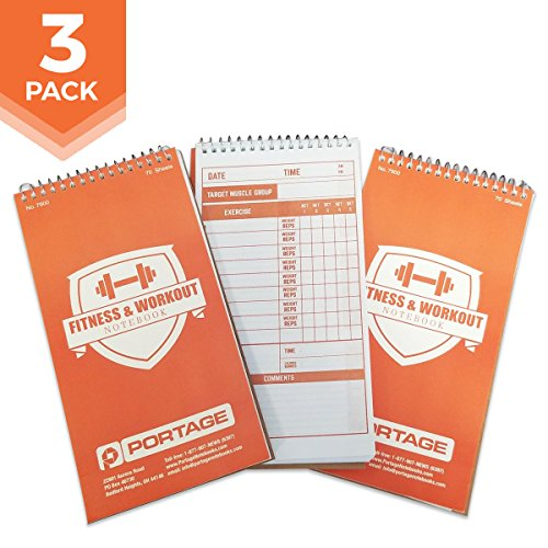 "Portage Fitness and Workout Notebook – 4"" x 8"" Sturdy Exercise Journal..."