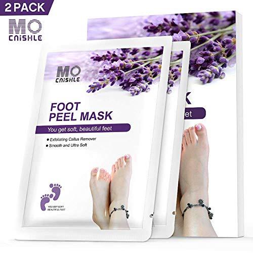 Foot Exfoliating Peel Mask - Mocnishle Foot Mask Lavender Scented, Natural Material Repair Rough Heels, Peel Calluses, Soak Socks Booties, Remove Dead Skin Calluses in 1-2 Weeks (2 Pack)