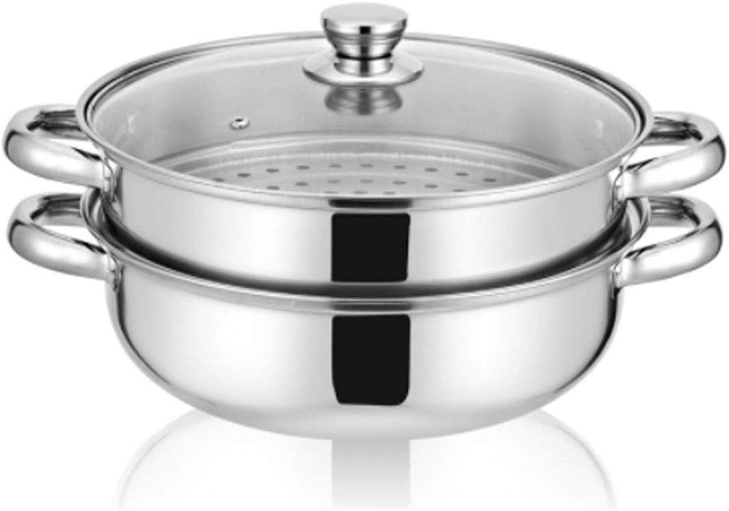 Stainless Steel Stack and Steam Pot Set - and Lid,Steamer Saucepot -2 Tier Steamer Pot Steaming Cookware -Steamer Pot Glass Lid Food Veg Cooker Pot Cooking Pan For Kitcken Cooking Tool