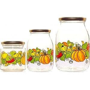 Barattolo - Bote para conserva con tapas herméticas, vidrio decorado (500 ml)