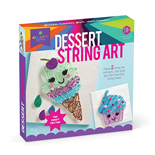 Craft-tastic - String Art Kit - Craft Kit Makes 2 Large String Art Canvases - Desserts Edition