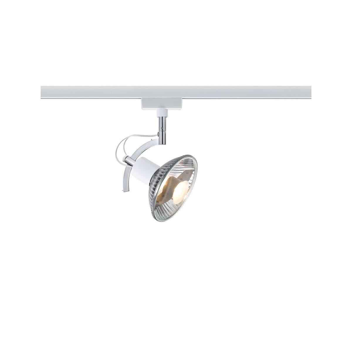 Paulmann 97691 URail Schienenleuchte System Light&Easy Spot Roncalli 1x50W GU10 Weiß 230V Metall Stromschienensystem, 20 x 20 x 30 cm