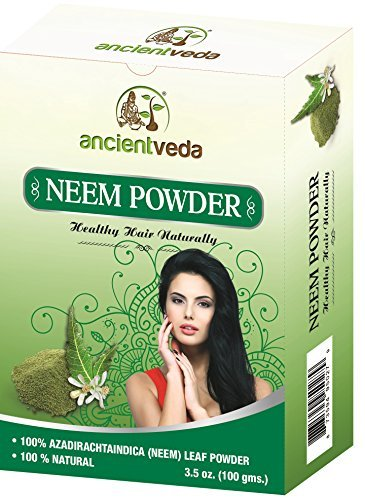 Neem Powder for Hair and Face, 7 Oz(Pack of 2 X 100 Gms) - no Preservatives, no Chemicals and no Fillers - Ancient Veda ()