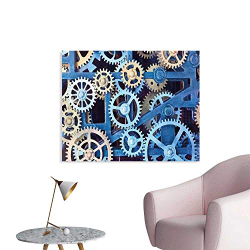 J Chief Sky Clock Wall Paintings A Set of Clock Gears Steel Cogwheels Pattern Mechanical Theme Design Print Print On Canvas for Wall Decor W24 -