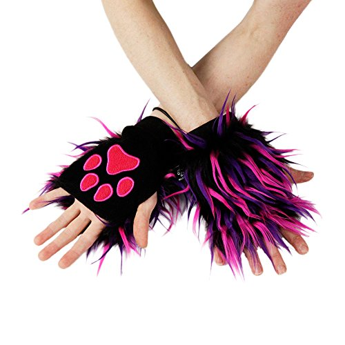Furry Cheshire Cat Costume (Pawstar Party Furz Pawlets Fingerless Glove Paws Furry Cat Fox -)