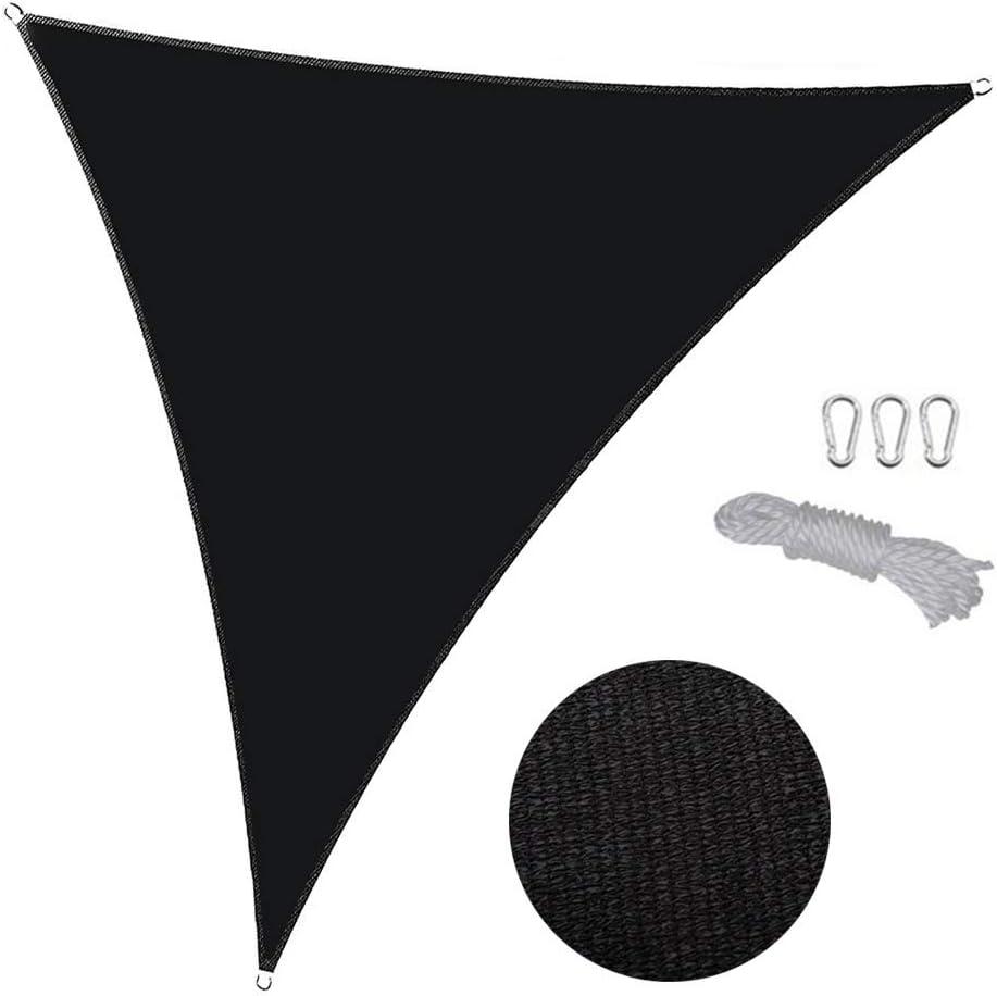 Dalovy Vela para Sombrilla de Jardín Al Aire Libre con Cuerdas de Sujeción - Triángulo 2X2X2 M - 100% HDPE con Estabilizador - Toldo de Toldo para Patio - Pantalla Solar, Vela Solar - Lona Negra